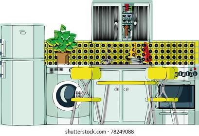 kitchen decoration washing machine fridge cook kitchen sink house
