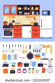 Kitchen decorative apartment interior furniture house room icon set. Cuisine with tools accessory concept. Vector flat cartoon graphic design isolated illustration