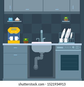 Kitchen design. Opened visible sink. Front view. Wall cabinets, dishwasher, coffee machine, dish dryer, flowerpot. Vector cartoon flat style illustration.