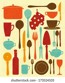kitchen design over cream background vector illustration