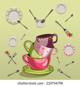 kitchen design set with cups, saucers, forks and spoons