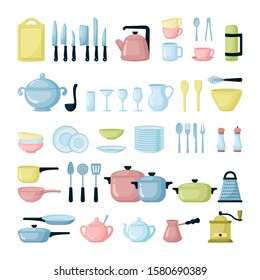 Kitchen dishes and glassware flat illustrations set. Colorful tableware. Plates, pots, cutlery. Chopping board, cutting utensils, knives. Cookware equipment. Cooking Items isolated on white background