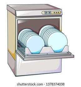 Kitchen dishwasher machine icon. Cartoon of kitchen dishwasher machine vector icon for web design isolated on white background