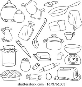 Kitchen doodle elements vector illustration sketch outline collection food pan knife cup toaster isolated on white background