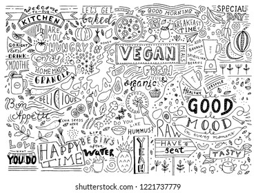 Kitchen doodle pattern, cafe template design. Sketchy food, kitchen wall art. Restaurant wall doodle. Vector food art.