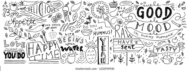 Kitchen doodle pattern, cafe template design. Sketchy food, kitchen wall art. Restaurant wall doodle. Vector food art.