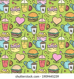 Kitchen doodle pattern. Seamless print of fast food. Vector illustration