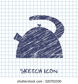 kitchen doodle sketch icon of kettle