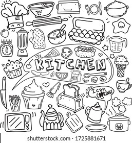 Kitchen doodle vector with the stuffs, hand made, wall art, cafe template design, restaurant wall doodle, vector food art