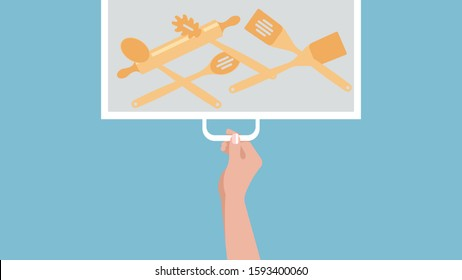 Kitchen drawer with wooden spoons and spatulas. A female hand opens a cupboard in the kitchen. Vector illustration.