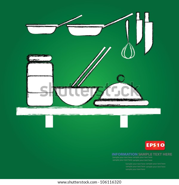 Kitchen drawing,Vector