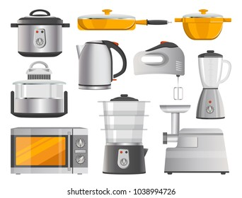 Kitchen electric appliances and modern supplies. Practical kitchenware and devices to cook food fast and tasty isolated vector illustrations set.