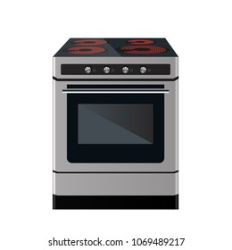 Kitchen electric stove. Cooking food equipment. Vector illustration. Front view