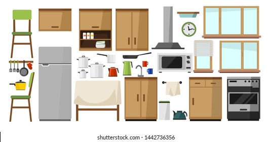 Kitchen elements collection. DIY kitchen with wooden facade and home electronics isolated on white background. Kitchen in cartoon flat style. Vector illustration.