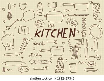 Kitchen elements hand drawn vector illustration