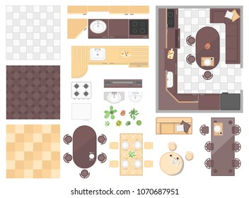 Kitchen elements - set of modern vector objects isolated on white background for creating your own images. Top view position of different tables, chairs, floors, stove, sink, plants, sofa, pillows