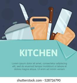 Kitchen equipment background.Kitchen Poster. Kitchen banner