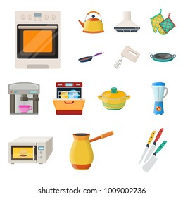 Kitchen equipment cartoon icons in set collection for design. Kitchen and accessories vector symbol stock web illustration.