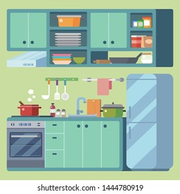 kitchen equipment design illustration vector