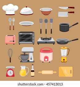 Kitchen Equipment Icons Set, Appliance, Crockery, Cooking, Cuisine, Food, Bakery