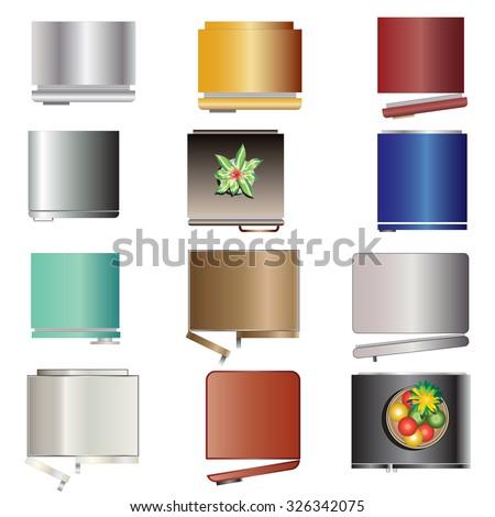Kitchen Equipment Refrigerators Top View Set Stock Vector Royalty