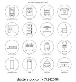 Kitchen equipment for restaurants and cafes: refrigerated showcase, dishwasher, rice cooker, fryer, bain-marie for soup, cauldron, chafing dish, freezer. Set 3. Linear round icons.