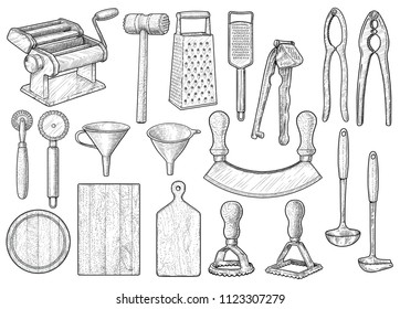 Kitchen equipment, utensil, accessories illustration, drawing, engraving, ink, line art, vector