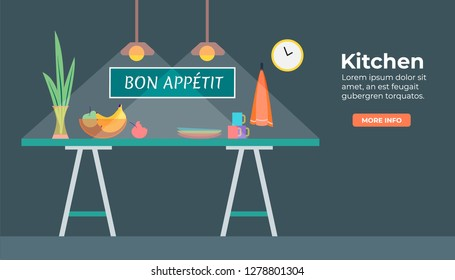 Kitchen in flat design with fruits, cup, clocks on th the wall, towel, vase with plant. Bon appetit on the wall. Light from the light bulb  in dark. Flat design style vector illustration
