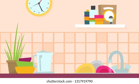 Kitchen flat vector illustration for web and design