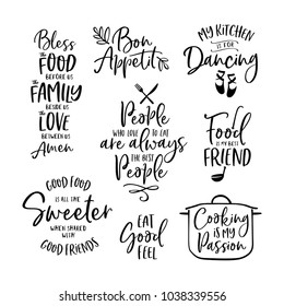 Kitchen food cooking related quotes set. Inspirational typography for home decor, cafe, restaurant. Vector vintage illustration.