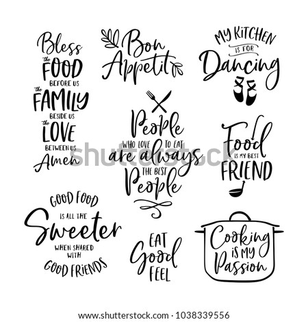 Kitchen Food Cooking Related Quotes Set Stock Vector Royalty Free