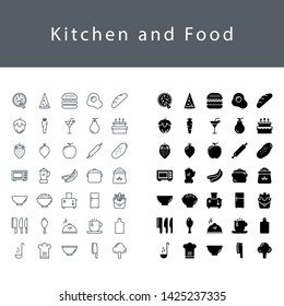 Kitchen and food icon set
