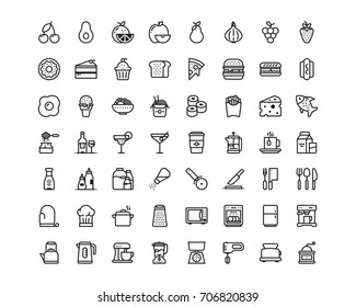 Kitchen and food icon set, outline style