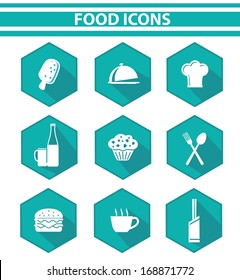 Kitchen and food icon set,Blue version,vector on white background