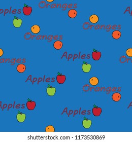 kitchen food seamless vector design pattern background apples oranges red green blue