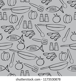 kitchen food seamless vector design pattern background black and gray utensils pans salt pepper fish tomato measure spoons