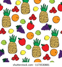 kitchen food seamless vector design pattern background fruit pineapple apple lemon lime orange grapes strawberries colorful