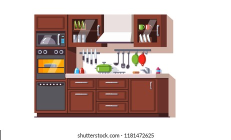 Kitchen furniture, appliances and utensils. Cabinets, oven, microwave, dishwasher, cutlery, crockery. Modern home kitchen interior. Flat style vector illustration isolated on white background