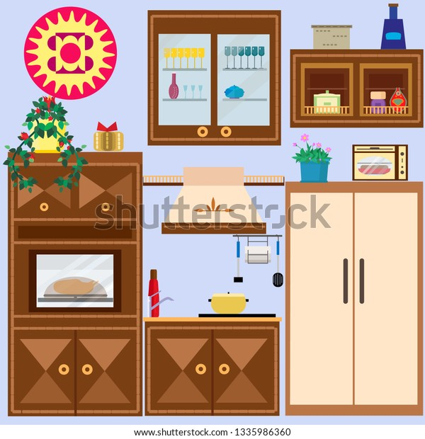 Kitchen Furniture Household Items Stock Vector (Royalty Free) 1335986360