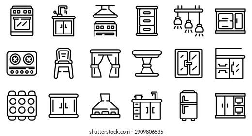 Kitchen furniture icons set. Outline set of kitchen furniture vector icons for web design isolated on white background