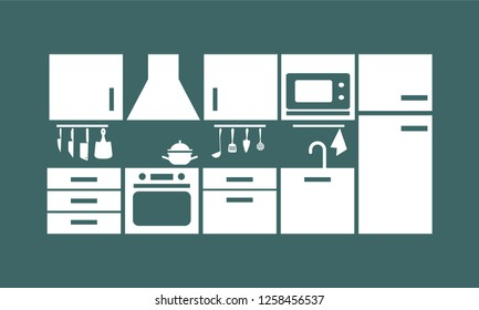 kitchen furniture on the emerald background. vector illustration