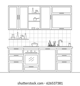 Kitchen furniture. Kitchen with pendant lockers, shelf, stove, dishes, sink and oven. Vector illustration in a linear style.