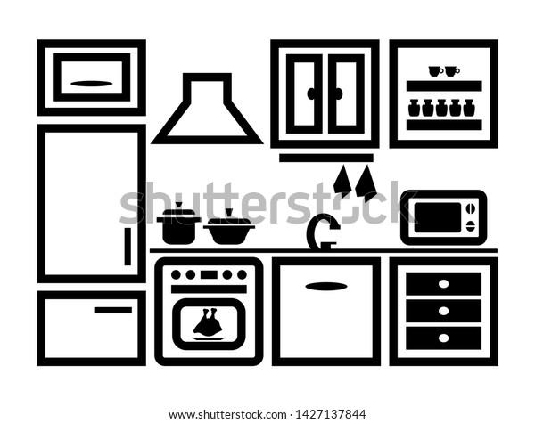 Kitchen Furniture Set Black White Contour Stock Vector Royalty Free 1427137844