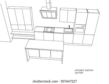 Kitchen furniture sketch. Vector
