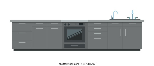 Kitchen furniture with stove and faucet vector flat material design isolated on white