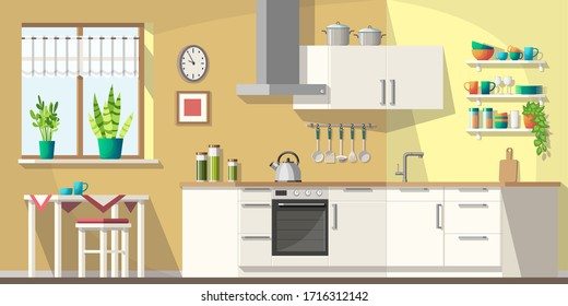 Kitchen with furniture and utensils. Vector illustration with separate layers.