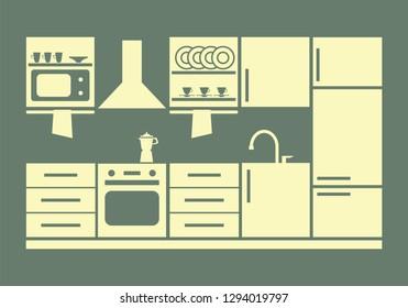 kitchen furniture. vector illustration