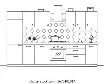 Kitchen furniture. Vector illustration in sketch style.