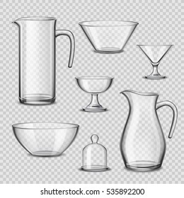 Kitchen glassware utensils collection of pitchers wine glasses bowels drinking accessories realistic side view transparent background vector illustration
