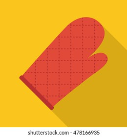 kitchen glove icon or button in flat style with long shadow, isolated vector illustration on yellow transparent background